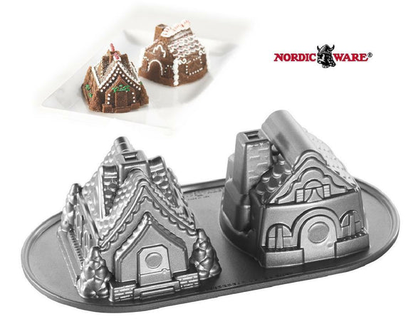 Nordicware Holiday GINGERBREAD HOUSE DUET Bundt CAKES Pan VILLAGE COTTAGES *New