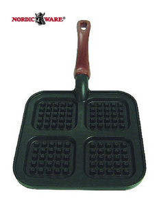Nordicware SQUARE 4 MINI WAFFLE GRIDDLE Heavy Cast Stovetop Pancake GRILLING New