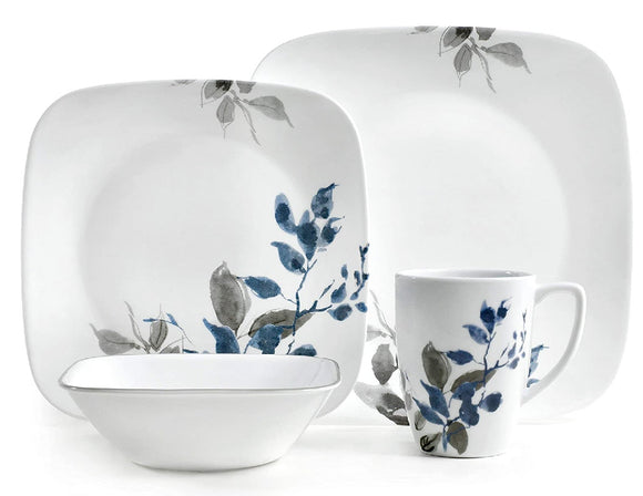 20-pc CORELLE Square KYOTO NIGHT Dinnerware Set *Blue Japanese Watercolor Leaves