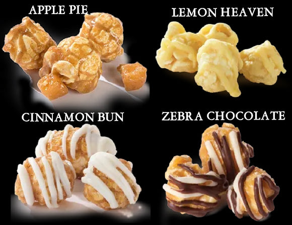 11-oz POPCORNOPOLIS Gourmet Popcorn APPLE PIE, LEMON HEAVEN, CINNAMON BUN or ZEBRA CHOCOLATE