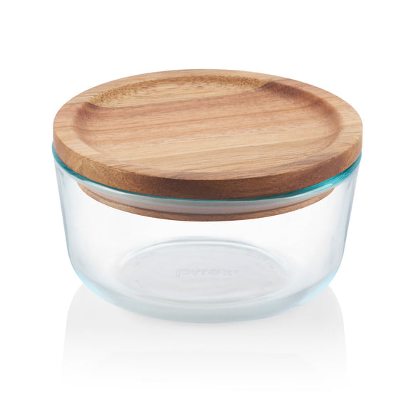 1 PYREX 4 CUP Glass Food Storage Container w/ WOODEN LID & SEAL Dry Goods, Crafts