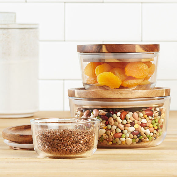 6-pc PYREX Glass Food Storage Container Set w/ WOODEN LIDS 1, 2, 4 Cup BOWLS Dry Goods, Crafts