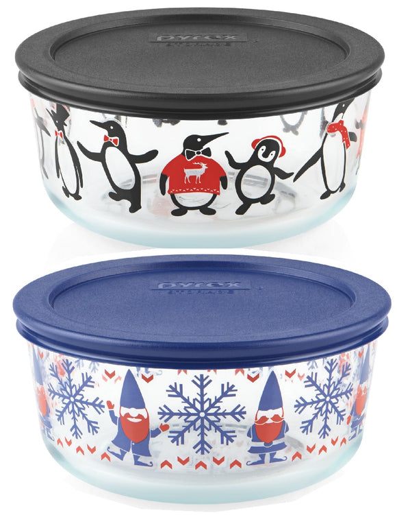 PYREX 4 Cup CHRISTMAS Storage Bowl *Choose: GNOME for the HOLIDAYS or JUST CHILLIN' PENGUINS