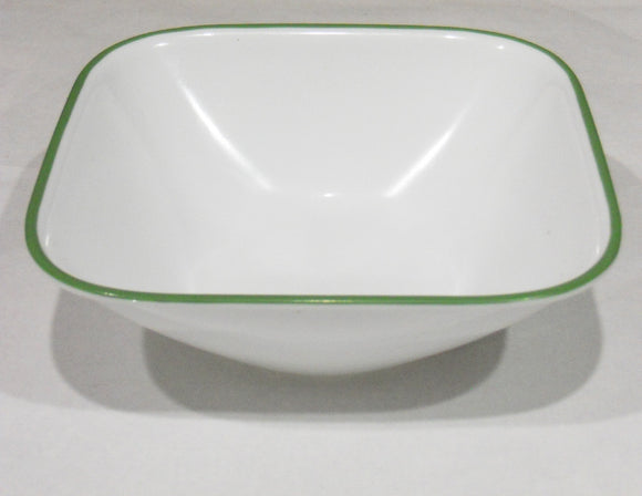 *NEW Corelle Square SHADOW IRIS 22-oz Soup Cereal BOWL Dinnerware Leaf Green Rim
