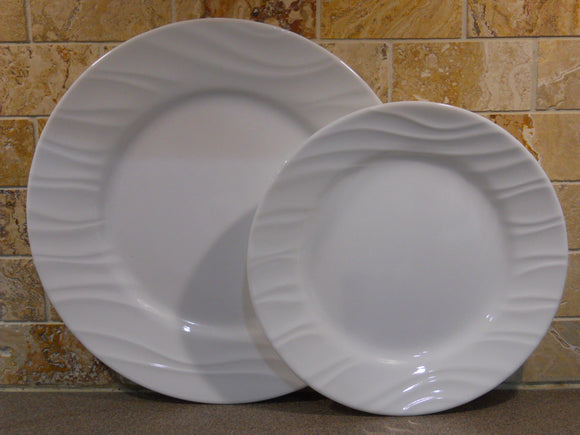 CORELLE Boutique SWEPT *Choose: 10 3/4 Dinner OR 8 1/2 Lunch PLATE *Embossed White Waves
