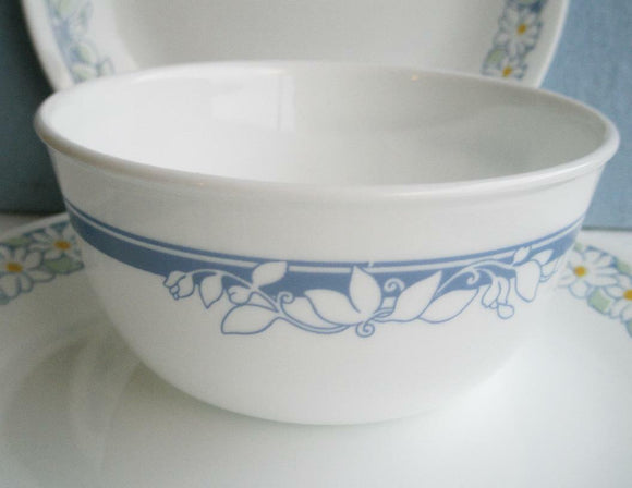 Corelle JASMINE 28 oz SOUP Salad CEREAL Bowl *WHITE Floral Blossom & BLUE Bands