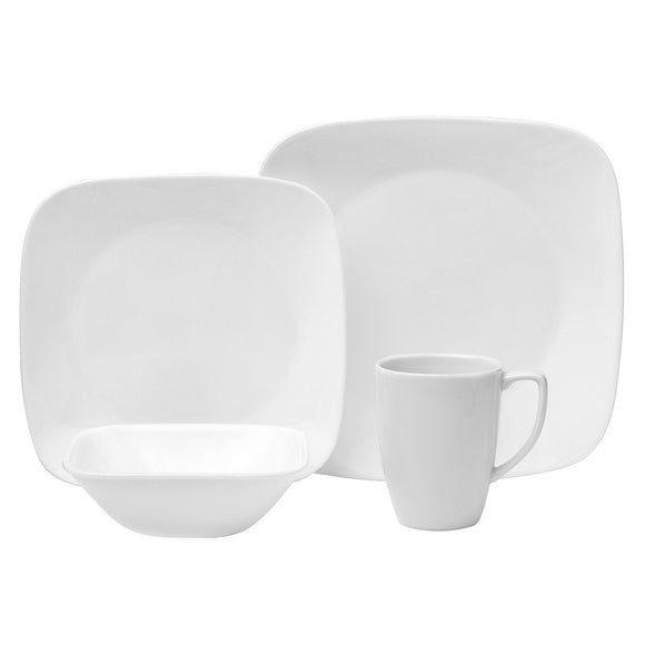 16-pc Corelle PURE WHITE SQUARE Dinnerware Set *Dinner, Lunch Plates, Bowls & Mugs