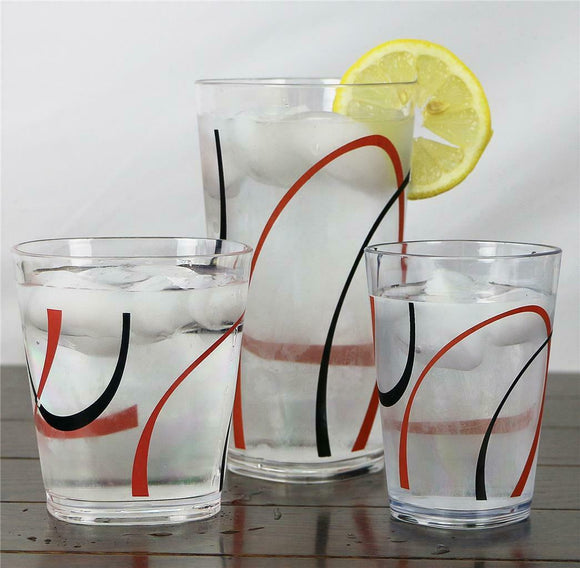 4 Corelle FINE LINES Acrylic DRINKWARE Beverage Glasses 19,14 or 8-oz Red Black