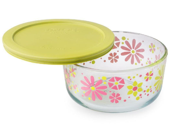 Pyrex FLOWER POWER Floral Petal 4 Cup Glass Storage Bowl & Cover Pink Yellow