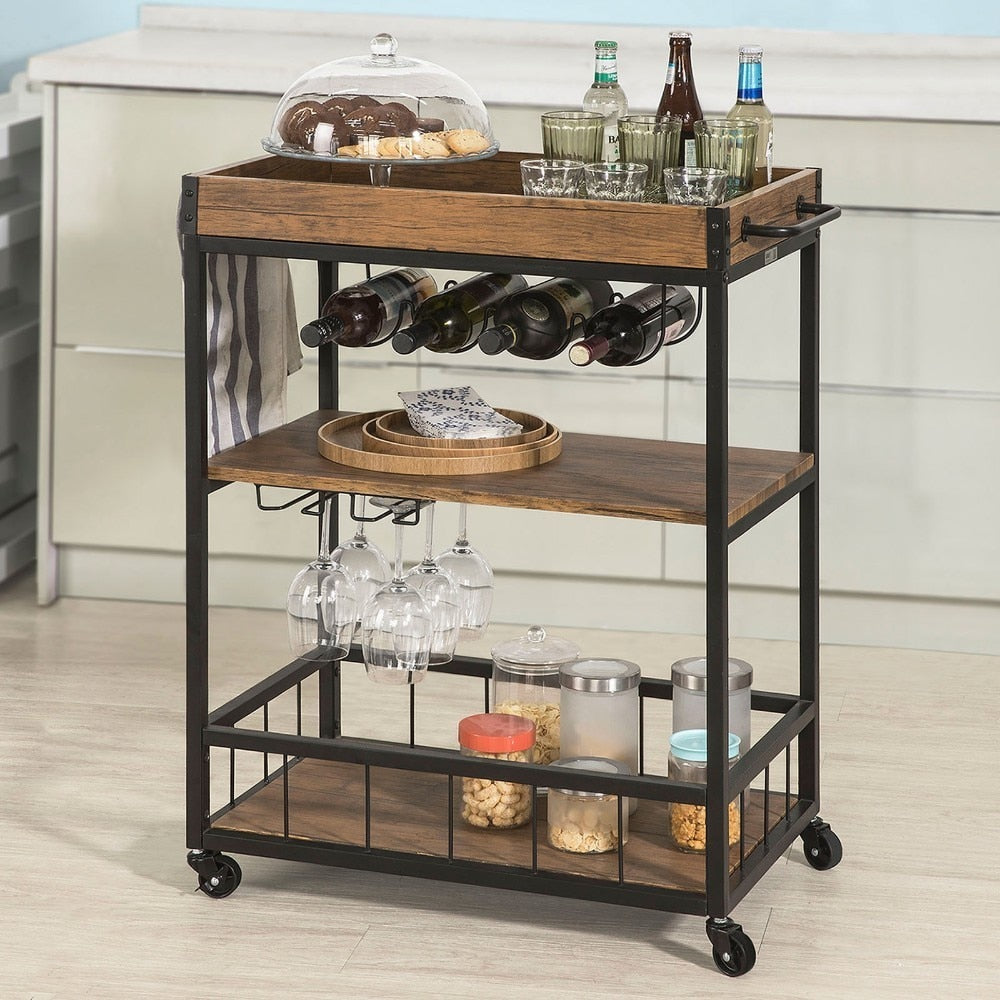 Kitchen Serving Trolley with Wine Rack