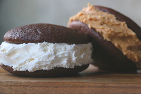 (1 Large Dozen) - 6 Chocolate Whoopie Pies with Classic Filling + 6 Chocolate Whoopie Pies with Peanut Butter Filling