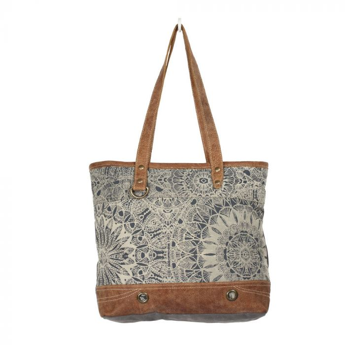 MYRA OBJET D'ART LEATHER STRIP TOTE BAG