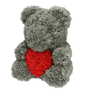 Rose Bear grey with red heart