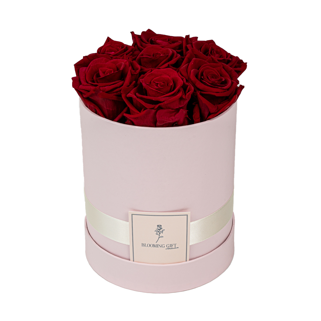 Flowerbox pink ~ with red roses