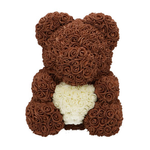 Rose Bear brown with white heart