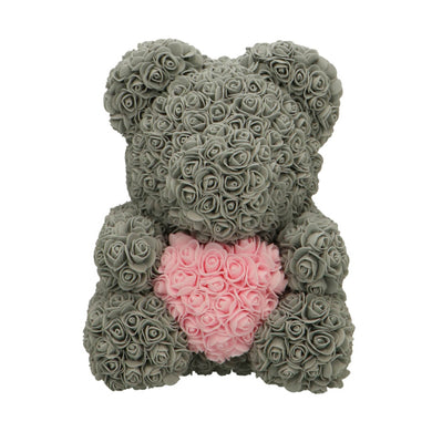 Rose Bear gray with pink heart