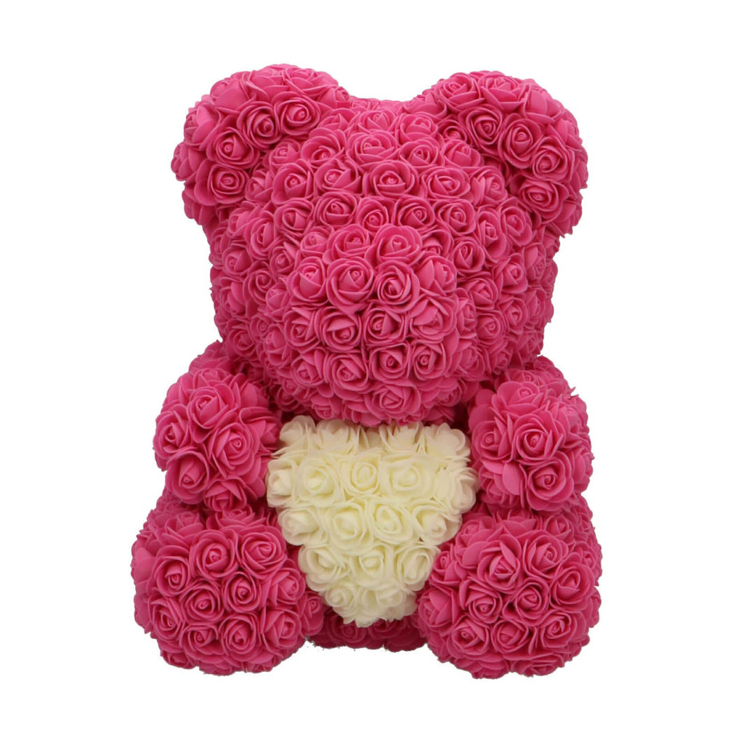 Rose Bear pink with white heart