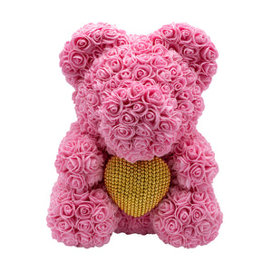 Rose Bear babypink with golden heart
