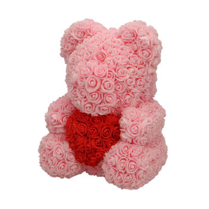 Rose Bear pink with red heart