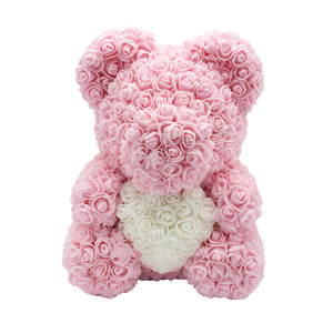 Rose Bear babypink with white heart