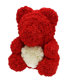 Rose Bear red with white heart