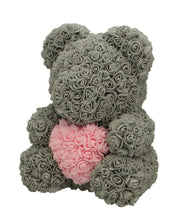 Load image into Gallery viewer, Rose Bear grey with pink heart