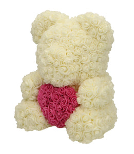 Rose Bear white with pink heart