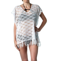 White beach tunic - cover up dress with fringe trim