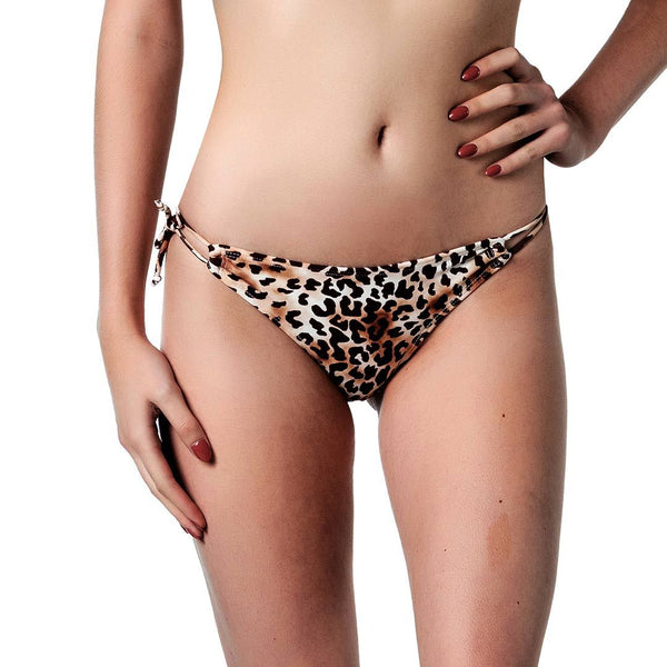Animal print bikini bottom with adjustable side ties