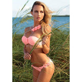 Push up bandeau bikini with petals and removable shoulder chain