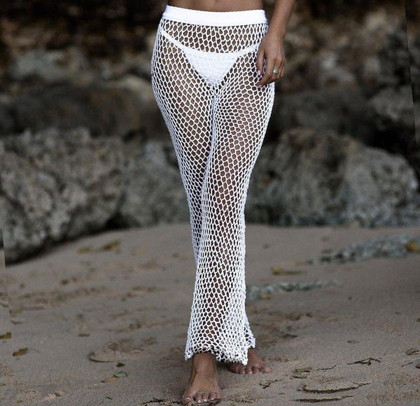 beach cover ups white mesh pants