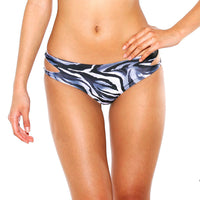 Cut-out bikini bottom front animal print