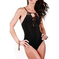 One-piece swimsuit with structured front in black, Noir