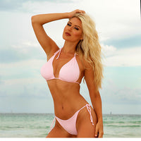 Reversible bikini in pink and white