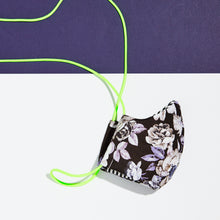Load image into Gallery viewer, floral cloth face mask with neon green lanyard