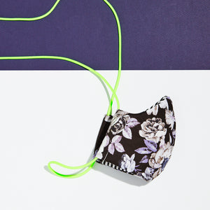 floral cloth face mask with neon green lanyard
