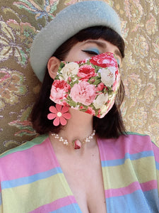 cloth face mask - fashion nerd - rose face mask floral pattern