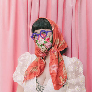 cloth face mask - fashion nerd - rose face mask floral pattern with scarf