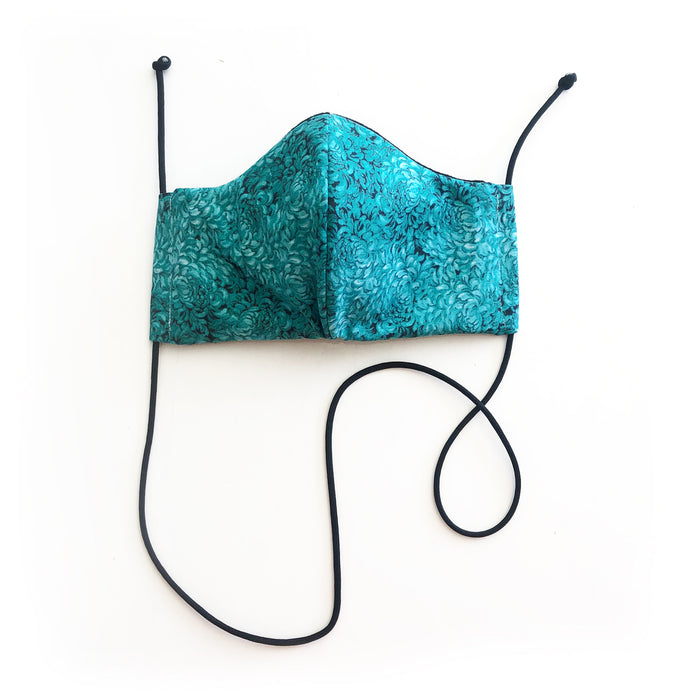 real teal cloth face mask - front