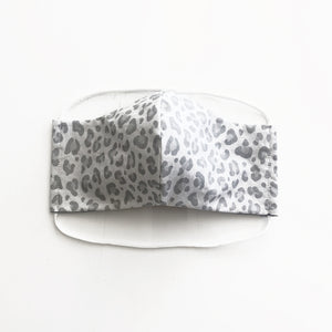cloth face mask - tiger lite - white and gray - front
