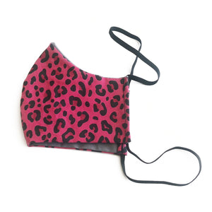 cloth face mask - tiger lite - pink animal print face mask - side view
