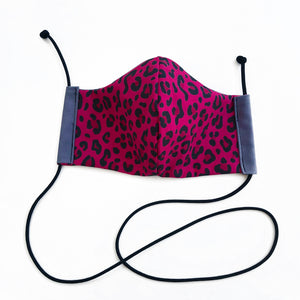 cloth face mask - tiger lite - pink animal print face mask with lanyard