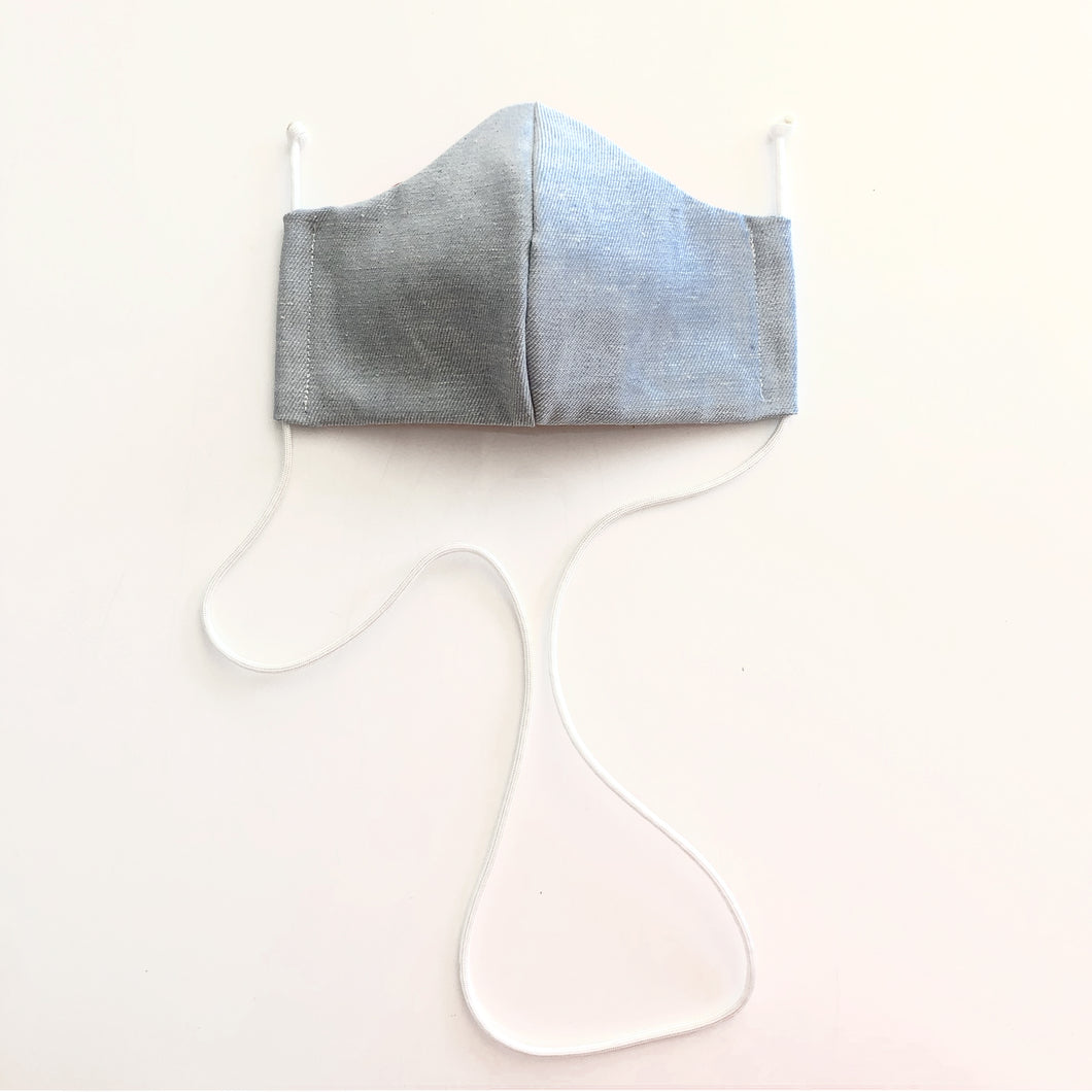denim cloth face mask with white lanyards