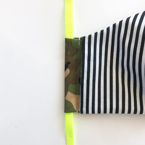 camo cloth face mask - lanyard sewing