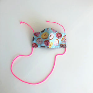 cloth face mask - donut go out - front with pink lanyard