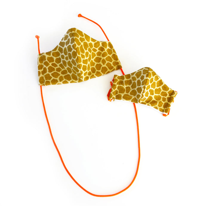 giraffe print cloth face mask - adult and kid without face