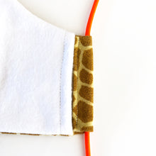 Load image into Gallery viewer, giraffe print cloth face mask - seam close up