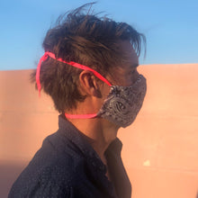Load image into Gallery viewer, Bandana mask, INLAW, is a reusable, reversible and washable face mask. Features integrated filter pocket. Made from three layers of 100% cotton. Designed and manufactured by Mr. Pink's based in California. Made in USA.