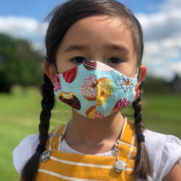 Kids cloth face mask - donut go out