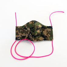 Load image into Gallery viewer, camo cloth face mask - pink lanyards